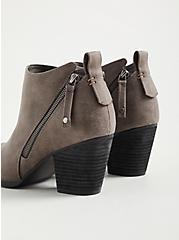 Grey Faux Leather Side Zip Heel Bootie (WW), GREY, alternate