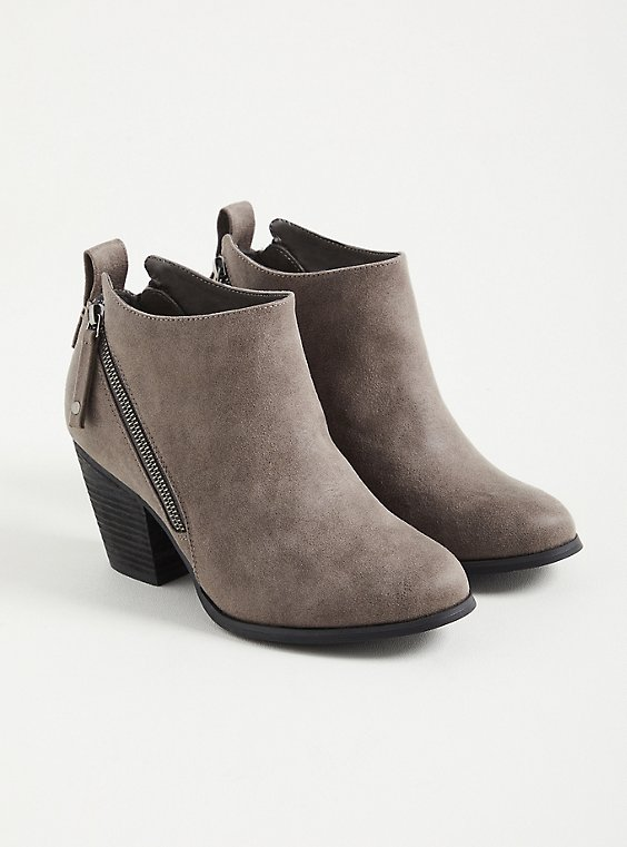 Grey Faux Leather Side Zip Heel Bootie (WW), GREY, hi-res