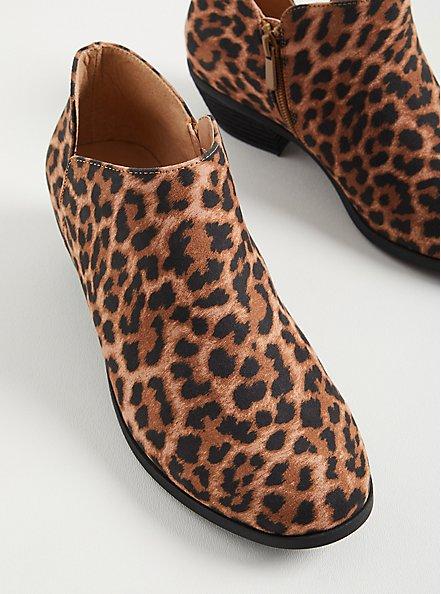 Plus Size Leopard Faux Suede V-Cut Bootie, LEOPARD, alternate