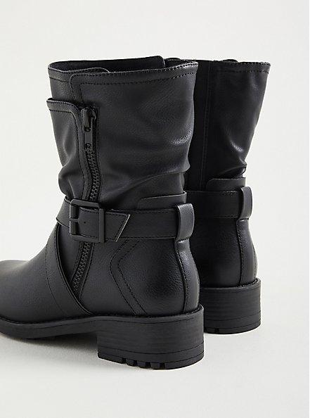 Double Strap Moto Boots - Black Faux Leather (WW), BLACK, alternate
