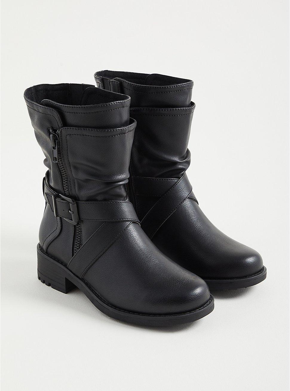Double Strap Moto Boots - Black Faux Leather (WW), BLACK, hi-res