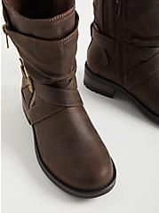 Brown Double Strap Moto Boot (WW), BROWN, alternate