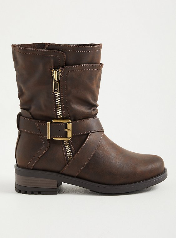 Brown Double Strap Moto Boot (WW), BROWN, hi-res