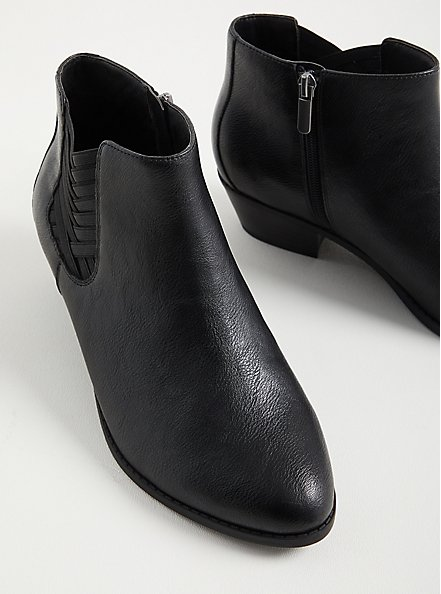 Criss Cross Ankle Bootie - Faux Leather Black (WW), BLACK, alternate