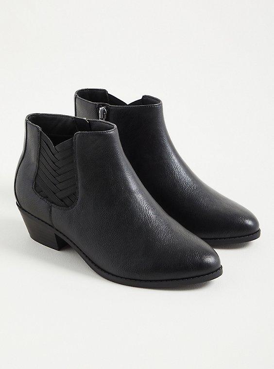 Criss Cross Ankle Bootie - Faux Leather Black (WW), BLACK, hi-res