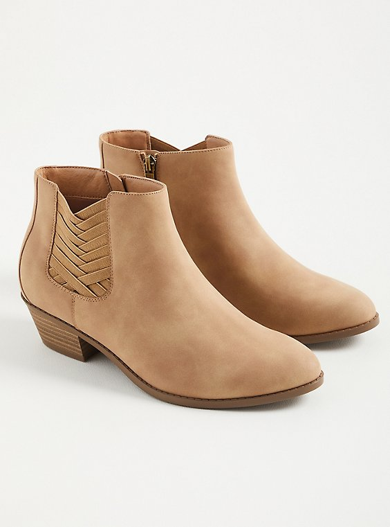 Criss Cross Ankle Bootie - Nubuck Tan (WW), TAUPE, hi-res