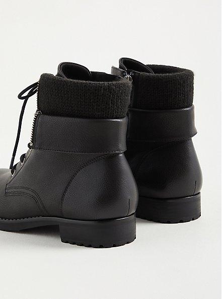 Plus Size Black Foldover Sweater Combat Boot (WW), BLACK, alternate