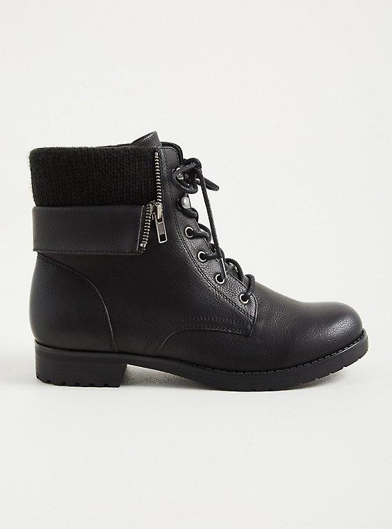 Black Foldover Sweater Combat Boot (WW), , hi-res