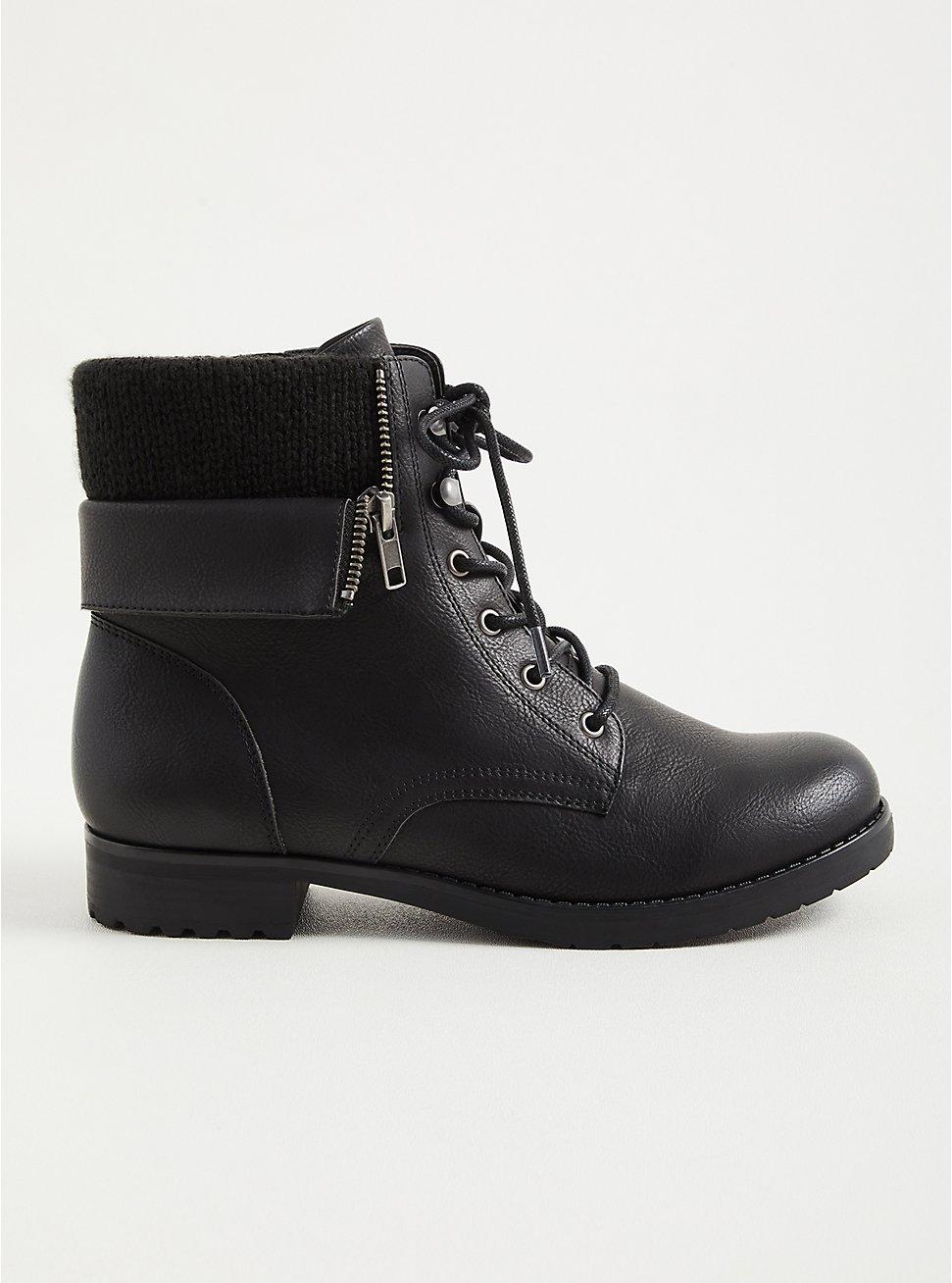 Plus Size Black Foldover Sweater Combat Boot (WW), BLACK, hi-res