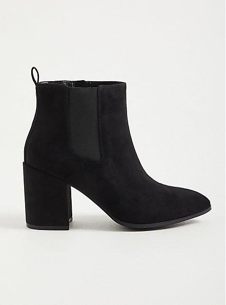 Pointed Toe Heeled Bootie - Black Faux Suede  (WW), BLACK, alternate