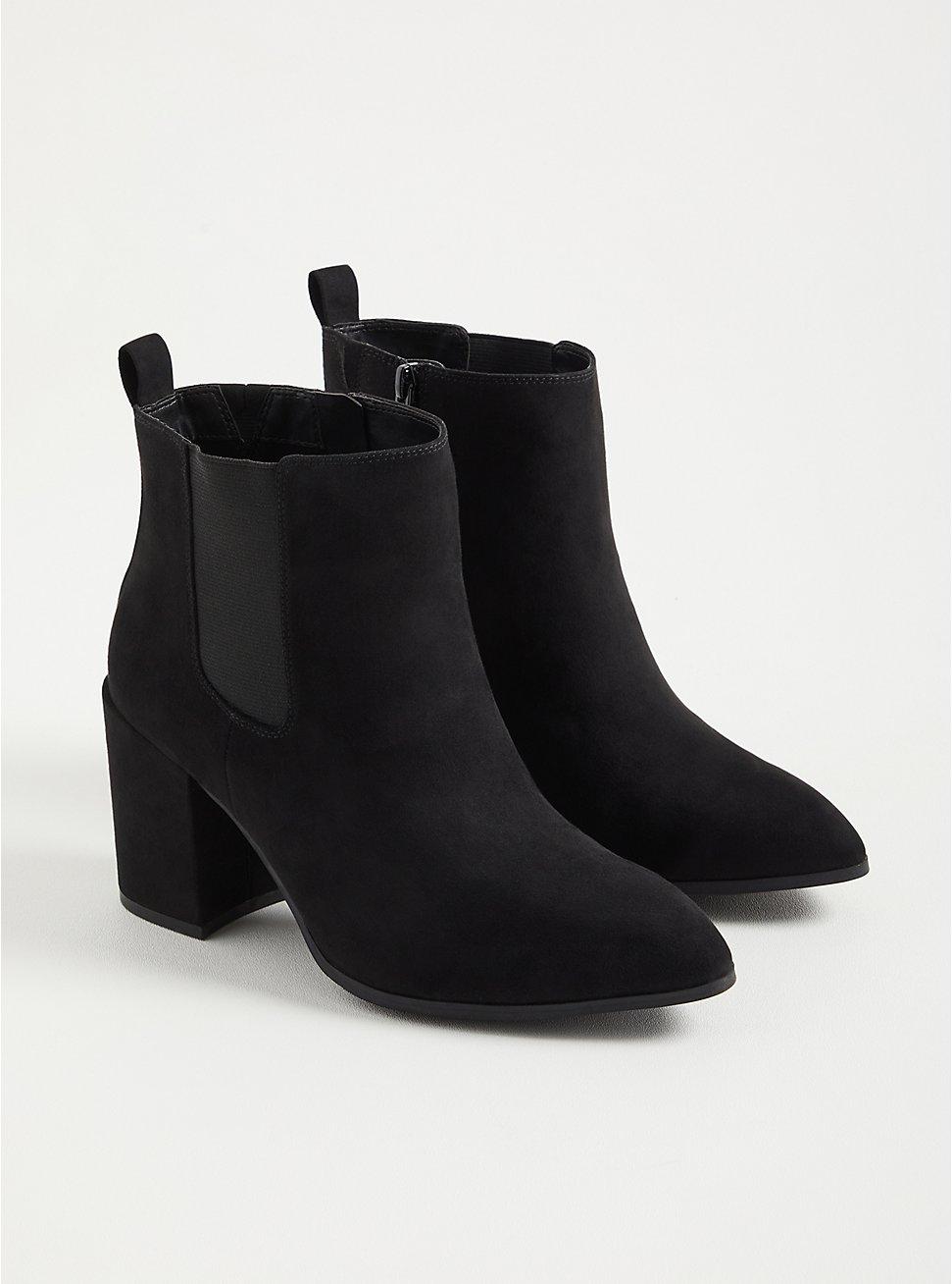 Pointed Toe Heeled Bootie - Black Faux Suede  (WW), BLACK, hi-res