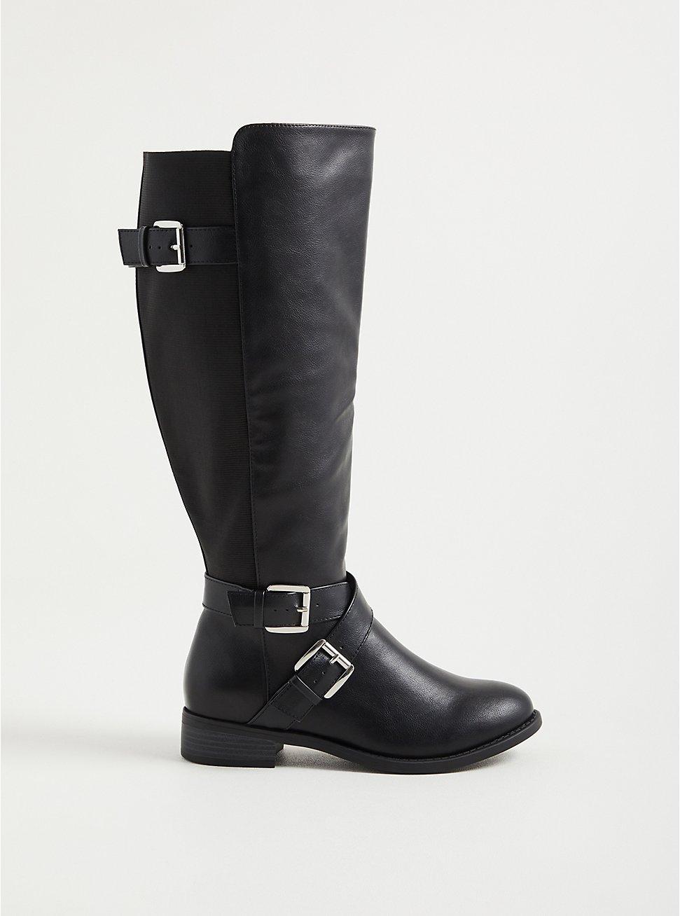 Brooke Side Buckle Knee Boot - Faux Leather Black (WW), BLACK, hi-res