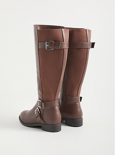 Brown Faux Leather Side Buckle Knee Boot (WW), BROWN, alternate