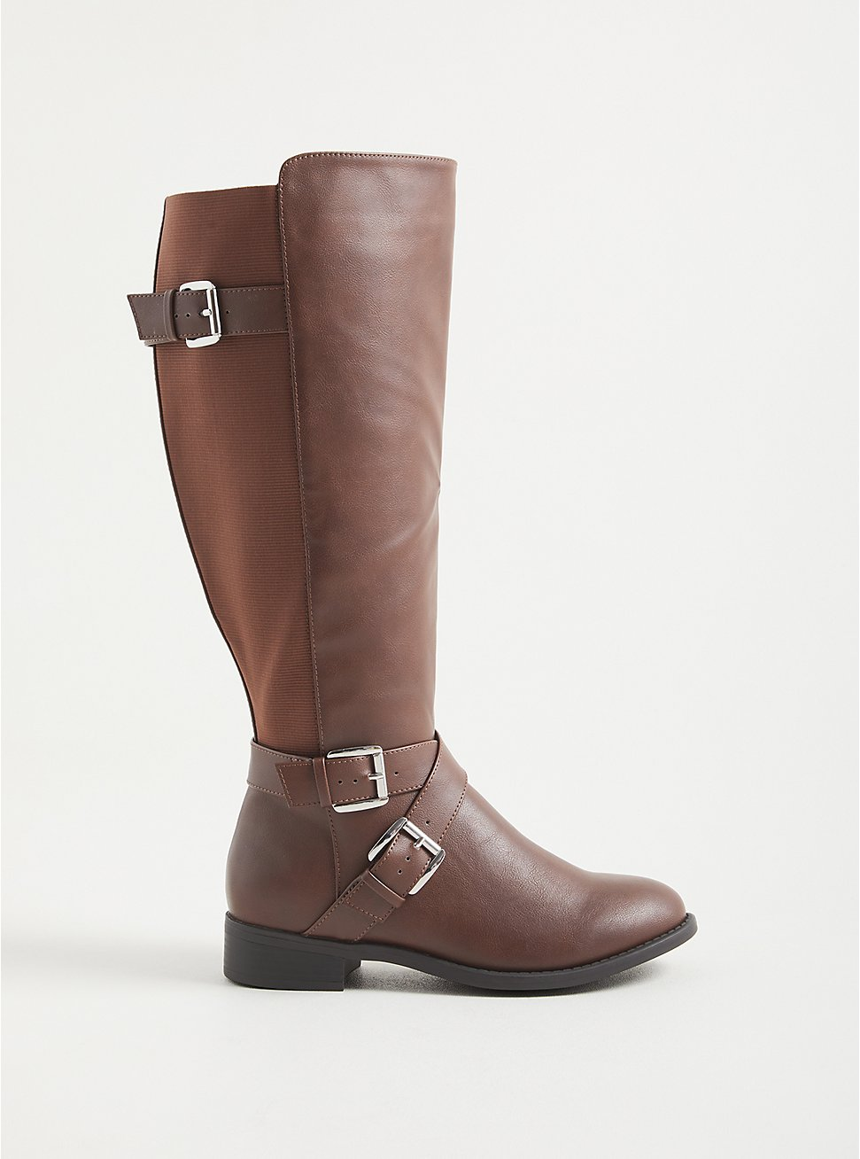 Brown Faux Leather Side Buckle Knee Boot (WW), BROWN, hi-res
