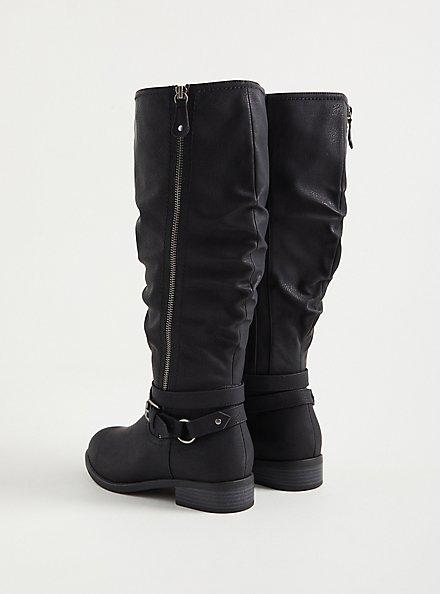 Plus Size Side Zip Knee Boot - Black Oil Suede (WW), BLACK, alternate