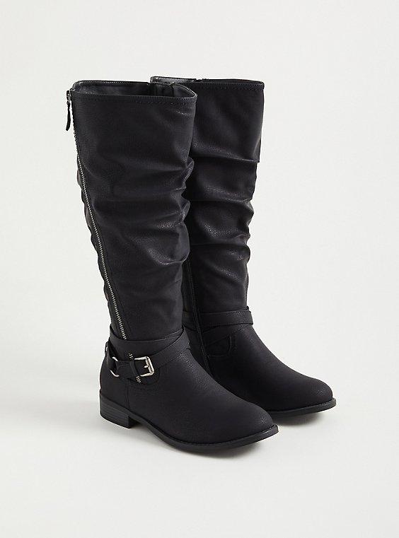 Black Faux Leather Side Zip Knee Boot (WW), BLACK, hi-res