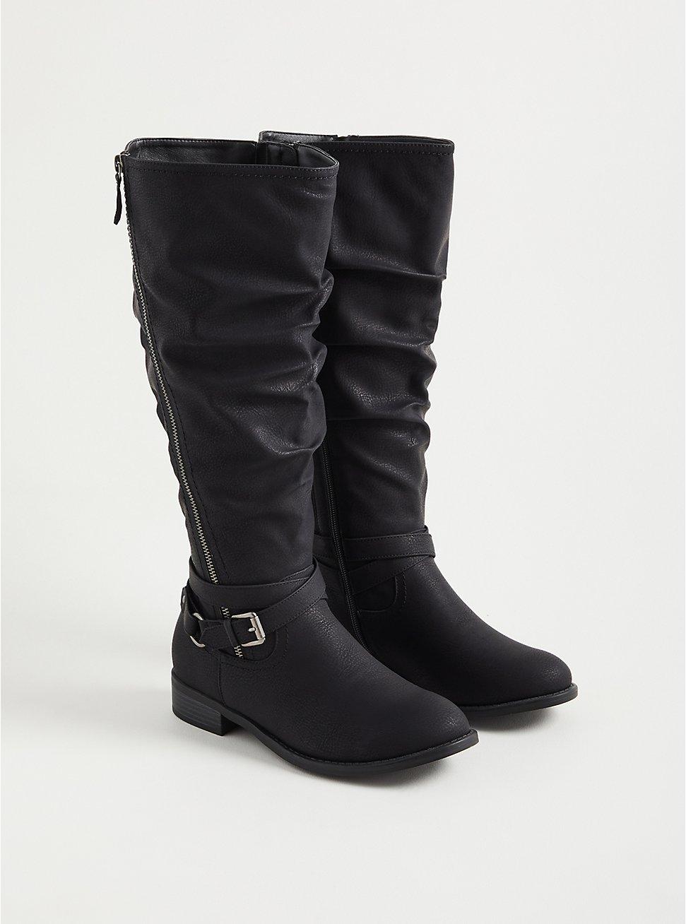 Plus Size Side Zip Knee Boot - Black Oil Suede (WW), BLACK, hi-res