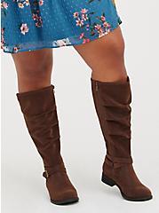 Brown Oil Suede Side Zip Knee Boot (WW), BROWN, alternate