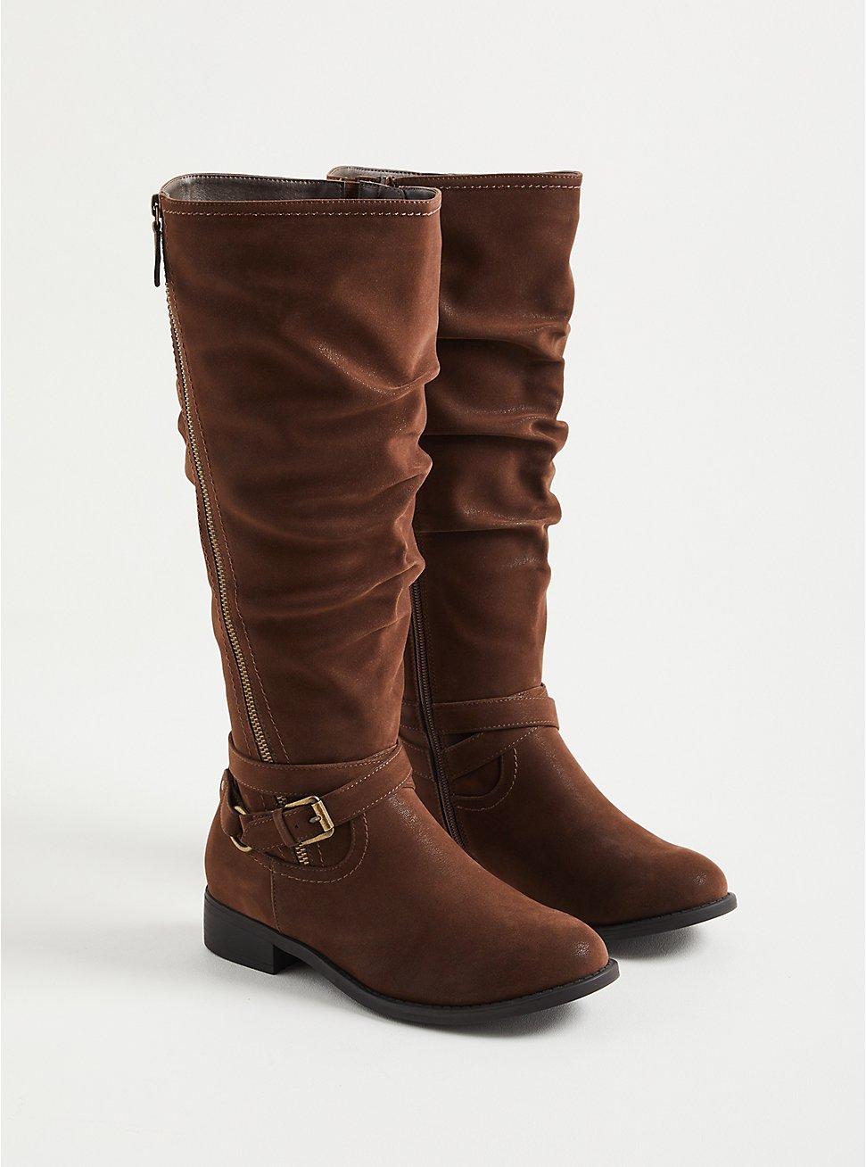 Plus Size Brown Oil Suede Side Zip Knee Boot (WW), BROWN, hi-res