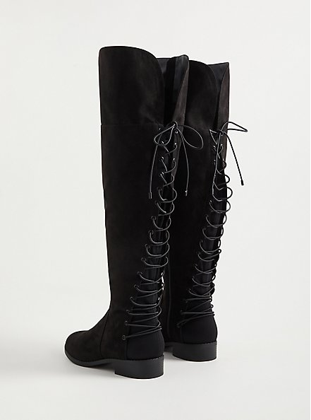 Lace-Up Over The Knee Boot - Black Faux Suede  (WW), BLACK, alternate