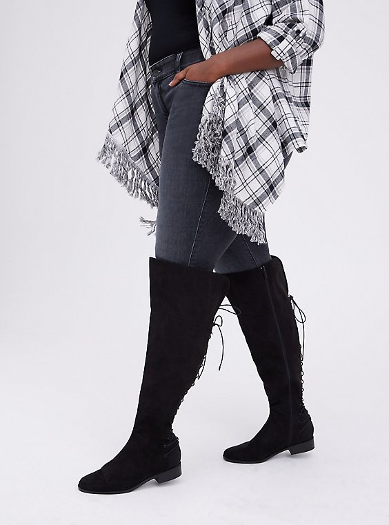 Lace-Up Over The Knee Boot - Black Faux Suede  (WW), BLACK, hi-res