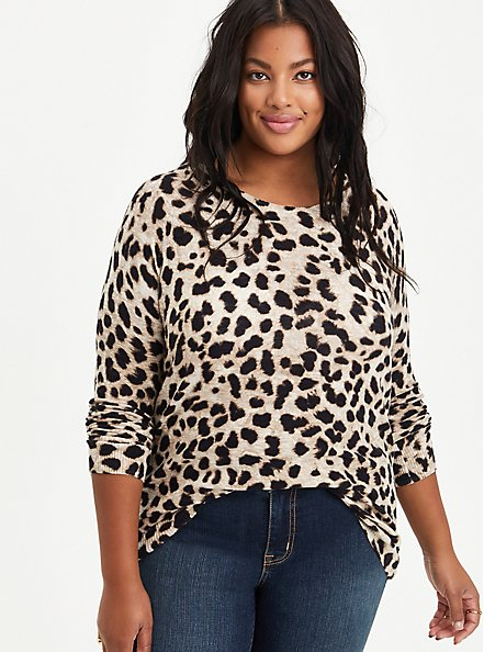 Raglan Sweater - Leopard, ANIMAL, hi-res