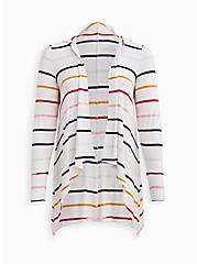 Drape Hoodie Cardigan - Super Soft Multi Stripe , STRIPE - MULTICOLOR, hi-res