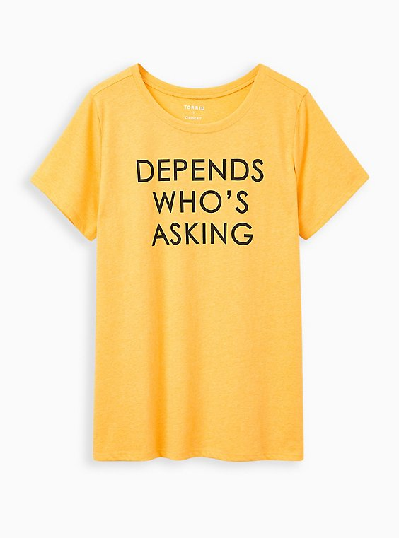 Everyday Tee - Signature Jersey Yellow Depends Who's Asking, MUSTARD HEATHER, hi-res