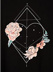 Perfect Tee - Super Soft Black Floral Heart, DEEP BLACK, alternate
