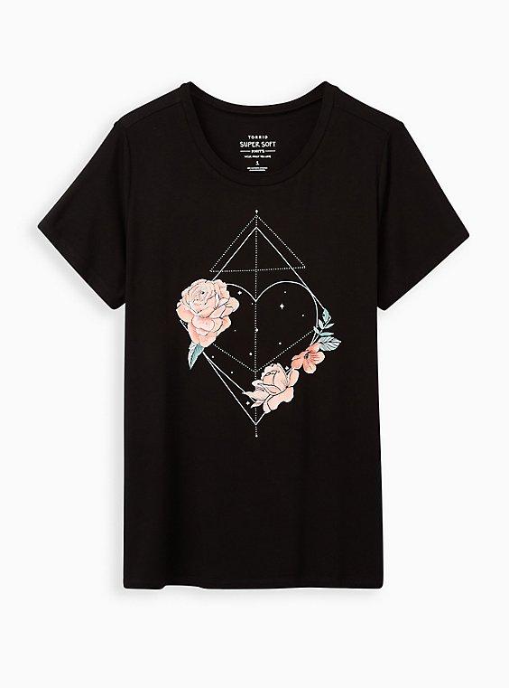 Perfect Tee - Super Soft Black Floral Heart, DEEP BLACK, hi-res
