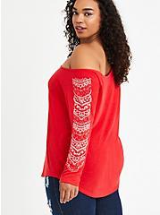 Henna Off Shoulder Top - Red, TOMATO RED, alternate