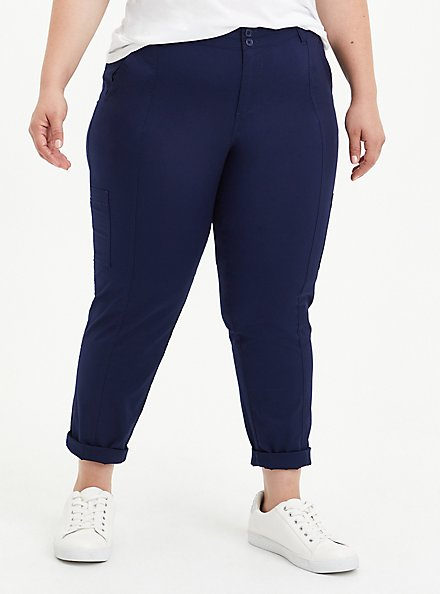 Plus Size Utility Crop Pant - Stretch Poplin Navy, PEACOCK, hi-res