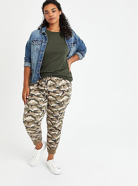 Relaxed Fit Cargo Crop Jogger - Stretch Challis Camo Wash, CAMO, alternate