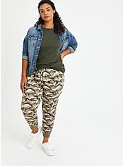 Plus Size Relaxed Fit Cargo Crop Jogger - Stretch Challis Camo Wash, CAMO, alternate