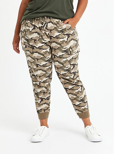 Relaxed Fit Cargo Crop Jogger - Stretch Challis Camo Wash, CAMO, hi-res