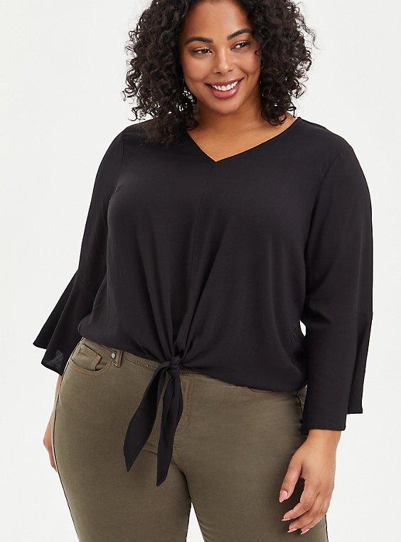 Blouse - Textured Stretch Rayon Black, DEEP BLACK, hi-res