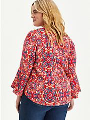 Red Medallion Textured Stretch Rayon Blouse, OTHER PRINTS, alternate