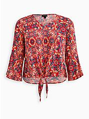Red Medallion Textured Stretch Rayon Blouse, OTHER PRINTS, hi-res