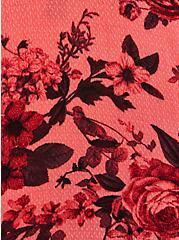Cold Shoulder Blouse - Rayon Floral Coral, FLORAL - PINK, alternate