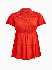 Plus Size Babydoll Tunic - Rayon Orange, ORANGE, hi-res