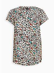 Hi-Low Tunic - Georgette Watercolor Leopard , LEOPARD - TAN, hi-res