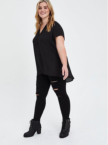 Hi-Low Tunic - Georgette Black, DEEP BLACK, alternate