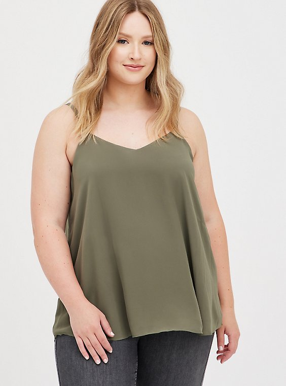 Sophie - Dusty Olive Chiffon Swing Cami, DUSTY OLIVE, hi-res