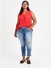 Harper - Red Textured Stretch Rayon Pullover Tank, TOMATO RED, alternate