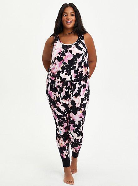 Sleep Legging - Super Soft Pink & Black Tie Dye , MULTI, alternate