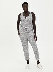 Sleep Jumpsuit - Micro Modal Terry Leopard Grey, MULTI, hi-res