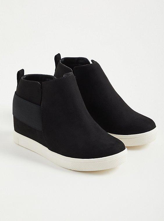 Sneaker Wedge - Faux Suede Black (WW), BLACK, hi-res