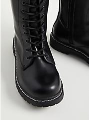 Combat Knee Boot - Faux Leather Black (WW), BLACK, alternate