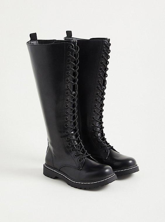 Combat Knee Boot - Faux Leather Black (WW), BLACK, hi-res