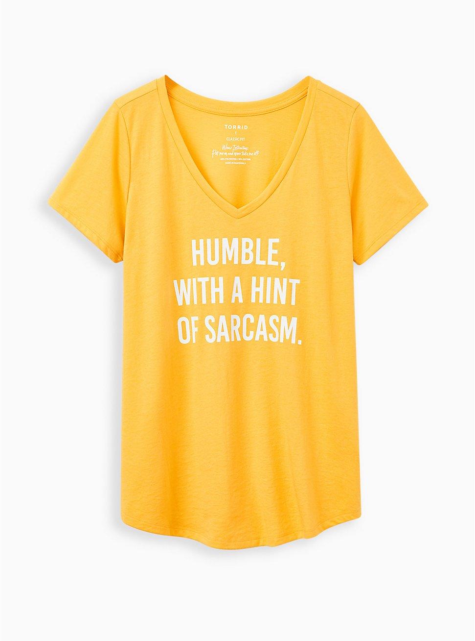 Girlfriend Tee - Signature Jersey Mustard Sarcasm, MUSTARD HEATHER, hi-res